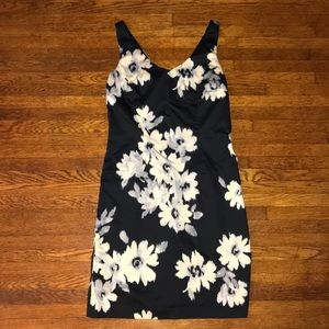 LOFT Black Floral Print Sleeveless Dress